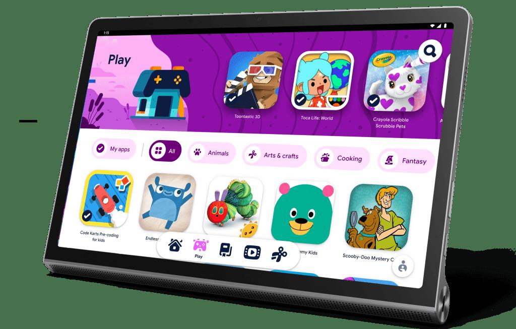 Вкладка Yoga Tab 11 в режиме подставки с изображением Kids Space от Google