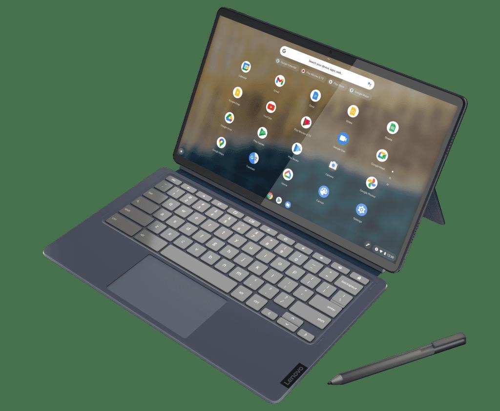 Lenovo Chromebook IdeaPad Duet 5 (13 дюймов, 6 дюймов), выделенный синим цветом Abyss Blue в режиме продуктивной работы