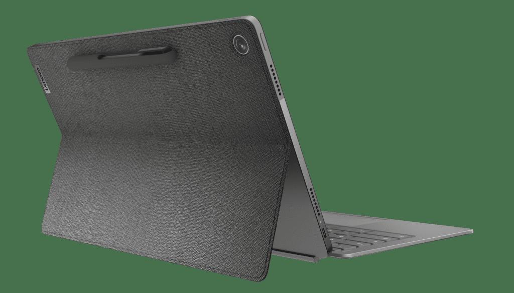 Легко откройте Chromebook IdeaPad Duet 5 (13 дюймов, 6 дюймов), показанный в сером цвете Storm Grey.