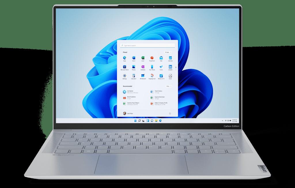 Воплотите в жизнь новые возможности и функции Windows 11 на ПК Lenovo, например Yoga Slim 7 Carbon (на фото)